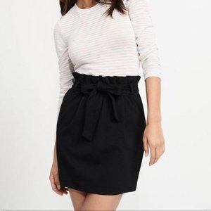 Faux suede paper bag mini skirt black small